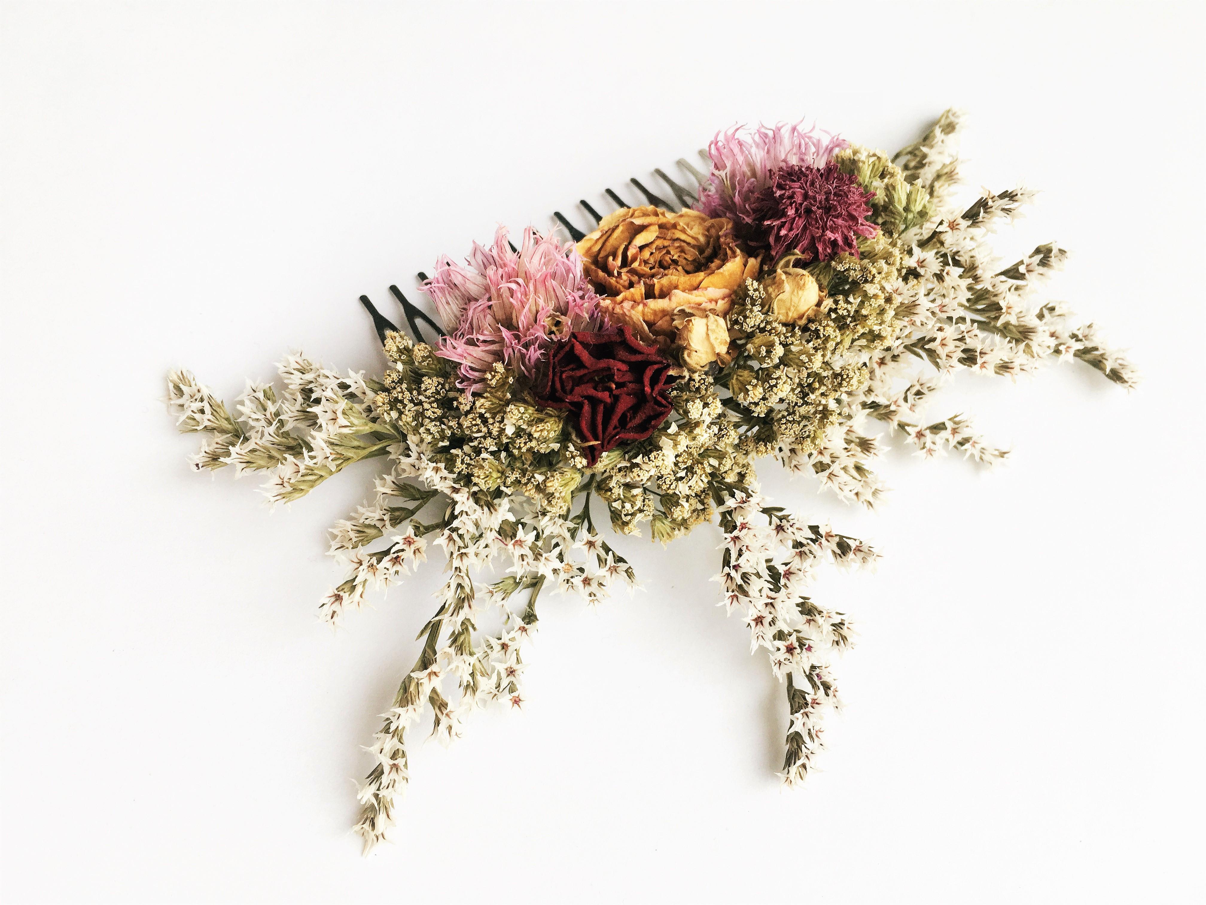 Haarkamm Trockenblumen